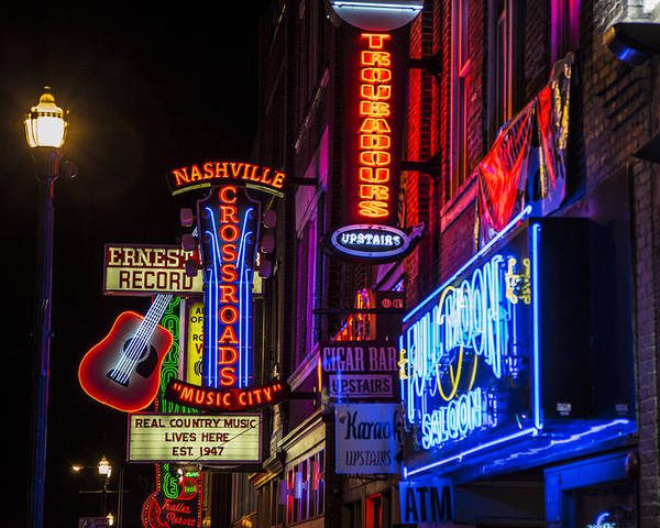 Nashville Poster featuring the photograph Signs Of Music Row Nashville by John McGraw