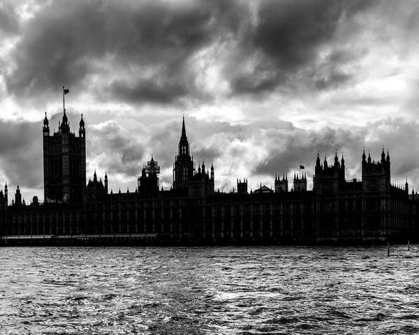 Bridge Poster featuring the photograph Silhouette Of Palace Of Westminster And The Big Ben by Semmick Photo