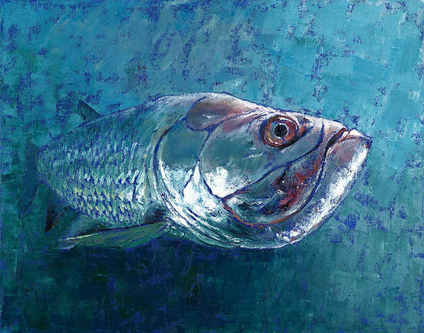 Fish Poster featuring the painting Silver King Tarpon by Pam Talley