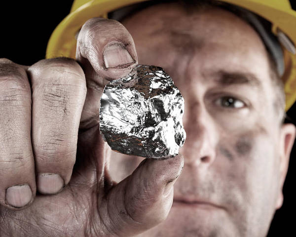 Silver Poster featuring the photograph Silver Miner With Nugget by Joe Belanger