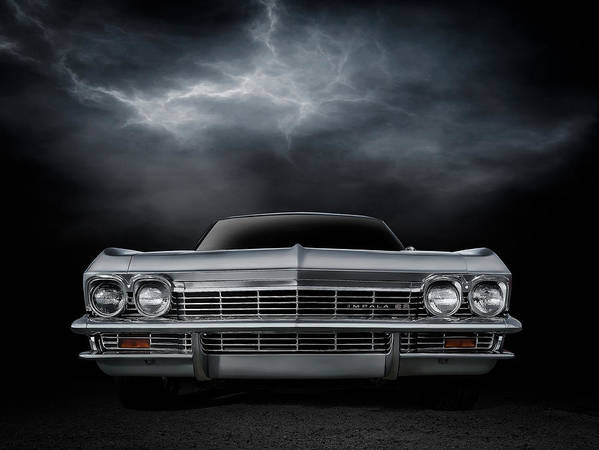 Car Poster featuring the digital art Silver Sixty Five by Douglas Pittman