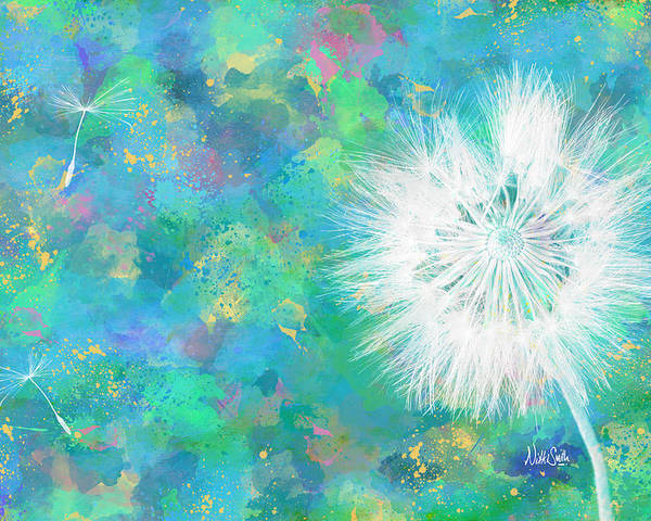 Dandelion Poster featuring the digital art Silverpuff Dandelion Wish by Nikki Marie Smith