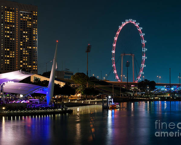 Singapore Poster featuring the photograph Singapore Flyer At Night by Rick Piper Photography