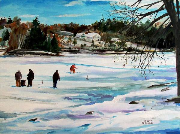 Millbury Poster featuring the painting Singeltary Lake Ice Fishing by Scott Nelson