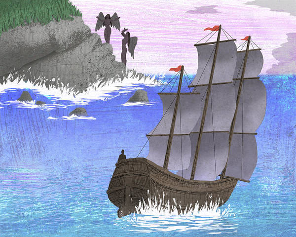 Steve Dininno Poster featuring the drawing Sirens by Steve Dininno