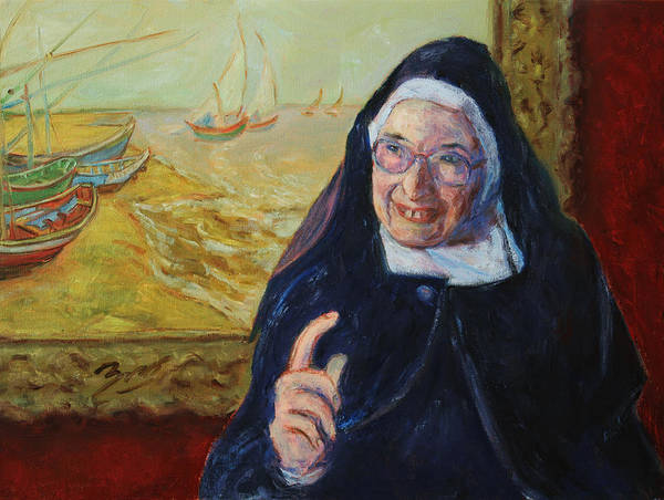 Sister Wendy Poster featuring the painting Sister Wendy by Xueling Zou