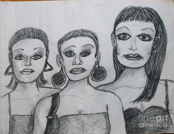 Sisters Poster featuring the drawing Sisters And Brother by Catherine Ratliff