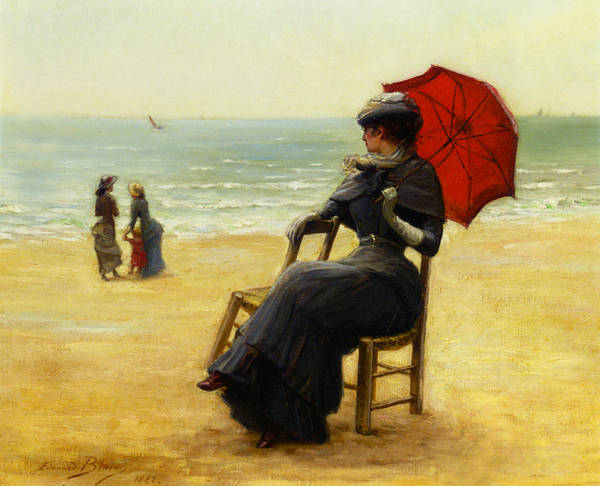 Edouard Bisson Poster featuring the digital art Sitting By The Sea by Edouard Bisson