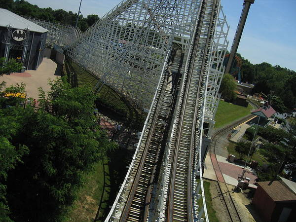 Six Poster featuring the photograph Six Flags America - Wild One Roller Coaster - 12129 by DC Photographer