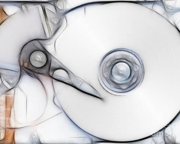 Hardware Poster featuring the digital art Sketch Of The Hard Disc by Michal Boubin
