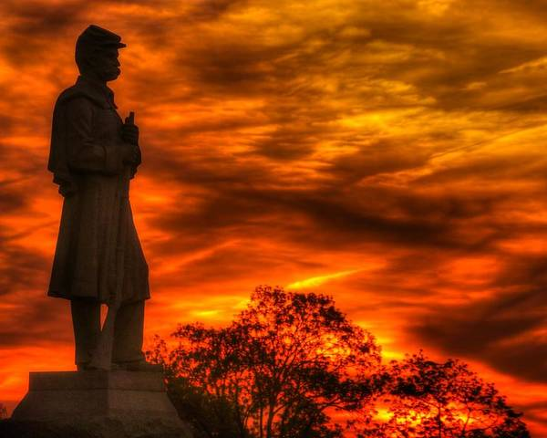 Civil War Poster featuring the photograph Sky Fire - West Virginia At Gettysburg - 7th Wv Volunteer Infantry Vigilance On East Cemetery Hill by Michael Mazaika