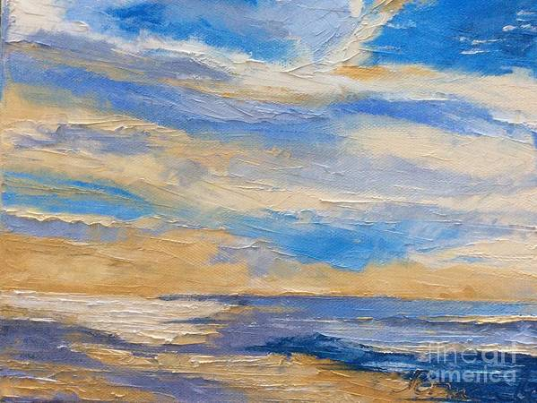 Sky Evening Blue Prussian Sea Reflection Landscape Seacape Palette Knife Roman Sea Yellow Grey Oil Poster featuring the painting Sky At Sunset by N Roman