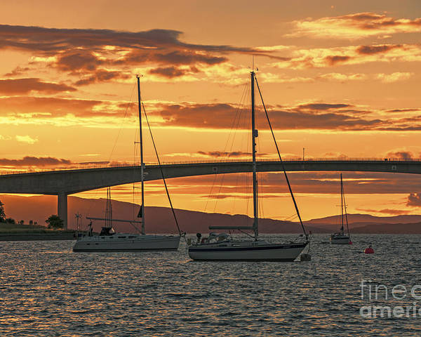 Isle Of Skye Canvas Poster featuring the photograph Skye Bridge Sunset by Chris Thaxter