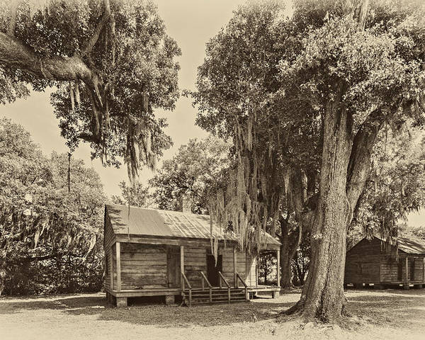 Evergreen Plantation Poster featuring the photograph Slave Quarters Sepia by Steve Harrington