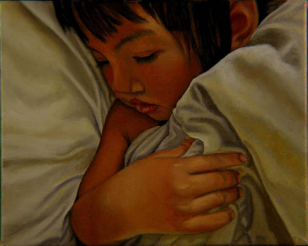 Child Poster featuring the painting Sleep by Thu Nguyen