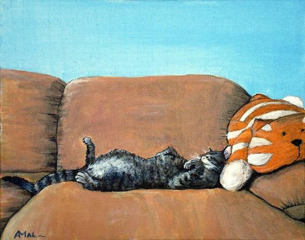 Calm Poster featuring the painting Sleeping Cat by Anastasiya Malakhova