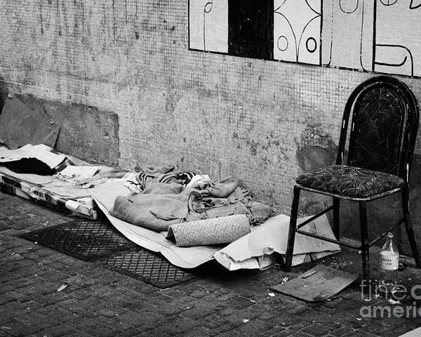 Sleeping Poster featuring the photograph sleeping rough on the streets of Santiago Chile by Joe Fox