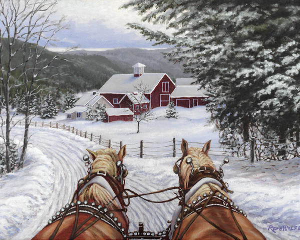 Horses Poster featuring the painting Sleigh Bells by Richard De Wolfe