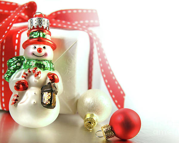 Background Poster featuring the photograph Small Christmas Ornament With Gift by Sandra Cunningham