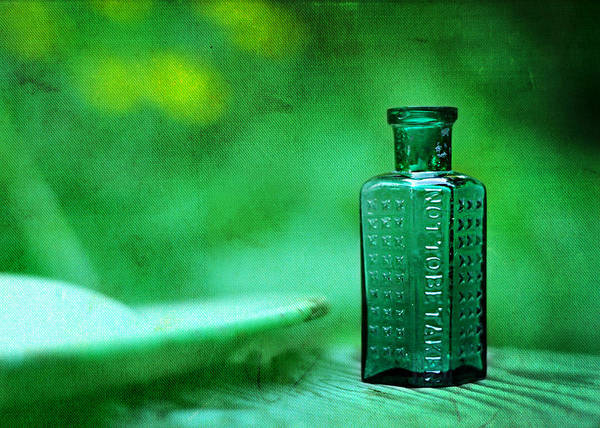 not To Be Taken Poster featuring the photograph Small Green Poison Bottle by Rebecca Sherman