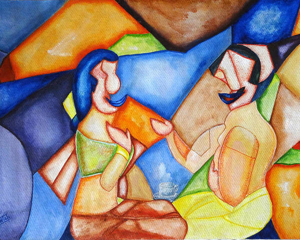 Couples Poster featuring the painting Small Talk-4 by Sheela Padmanabhan