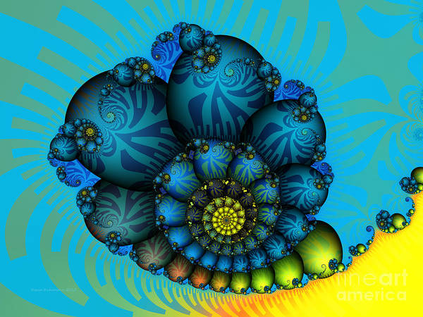 Fractal Poster featuring the digital art Snail Mail-fractal Art by Karin Kuhlmann