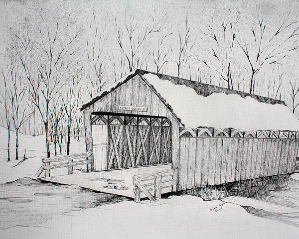 Cutler Donahue Bridge Drawing Poster featuring the drawing Snow Bridge 2012 by Tammie Temple