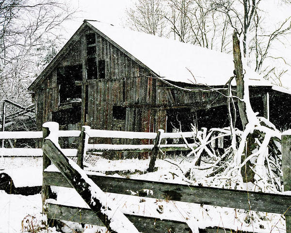 Barn Poster featuring the photograph Snow Covered Barn by Kimberleigh Ladd