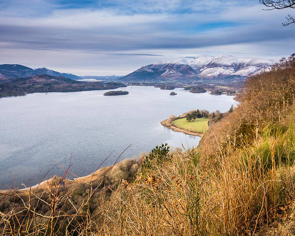 Bassenthwaite Poster featuring the photograph Snow Covered Skiddaw Above Derwent Water by David Head