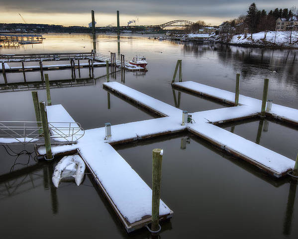 Snow On The Docks Poster featuring the photograph Snow On The Docks by Eric Gendron