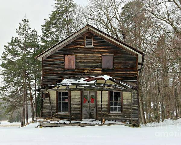 General Store Poster featuring the photograph Snow On The General Store by Benanne Stiens