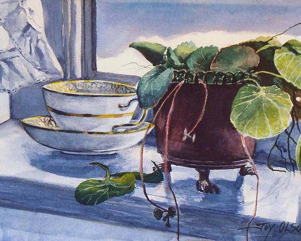 Watercolor Painting Poster featuring the painting Snow Outside The Window by Joy Nichols