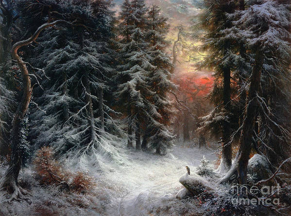 Winter Poster featuring the painting Snow Scene In The Black Forest by Carl Friedrich Wilhelm Trautschold