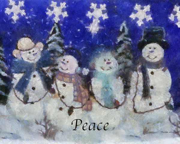 Winter Poster featuring the photograph Snowmen Peace Photo Art by Thomas Woolworth