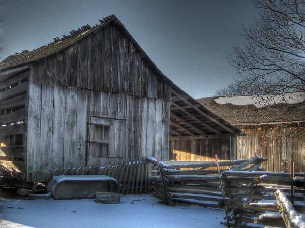 Barn Poster featuring the photograph Snowy Barn by Jane Linders