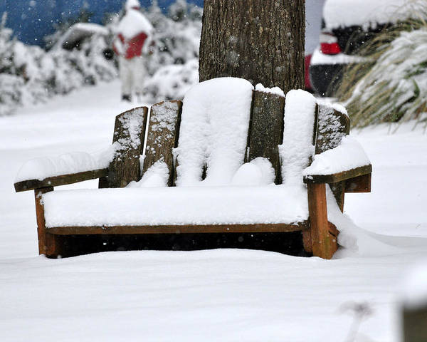 Snow Poster featuring the photograph Snowy Bench by Sonja Dover