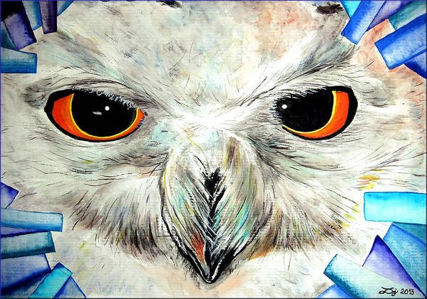 Snowy Owl Poster featuring the painting Snowy Owl - Female - Close Up by Daniel Janda