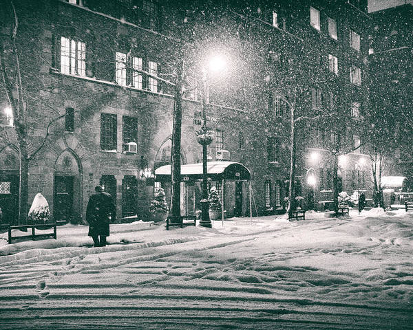 New York Poster featuring the photograph Snowy Winter Night - Sutton Place - New York City by Vivienne Gucwa