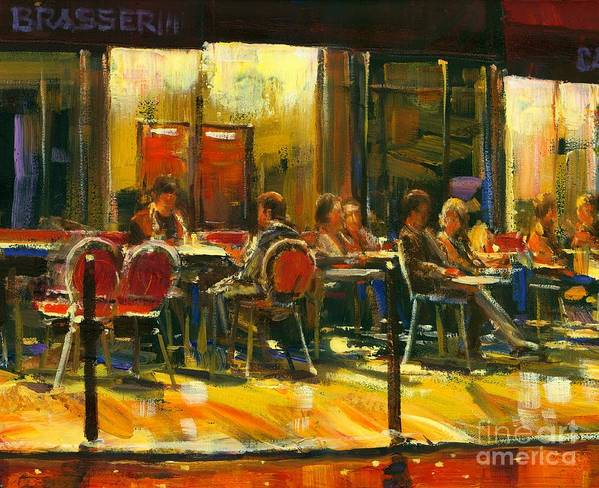 Cafe Poster featuring the painting Socializing by Michael Swanson