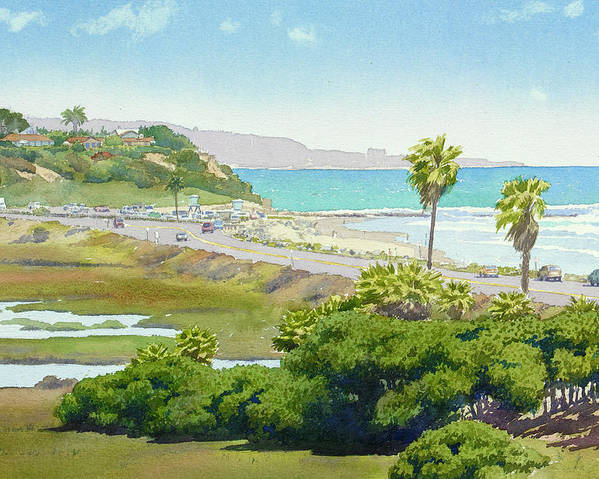 Solana Beach Poster featuring the painting Solana Beach California by Mary Helmreich