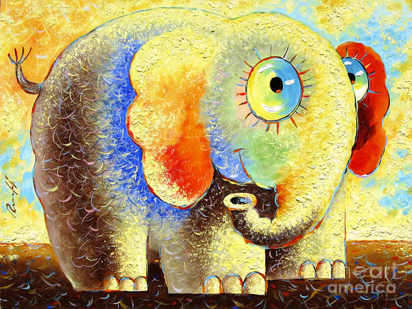 Sun Poster featuring the painting Solar Elephant by Sergey Lipovtsev