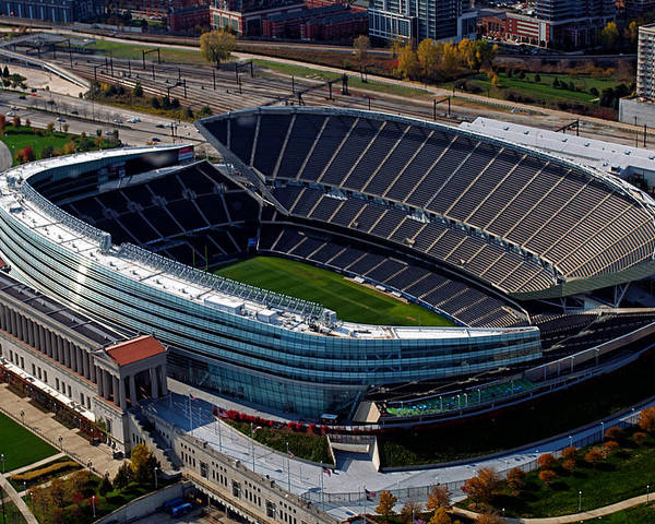 Soldier Field Poster featuring the photograph Soldier Field Chicago Sports 06 by Thomas Woolworth