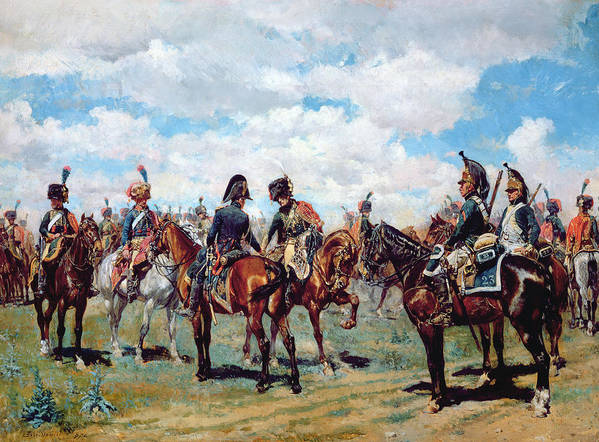 Soldier Poster featuring the painting Soldiers On Horseback by Jean-Louis Ernest Meissonier