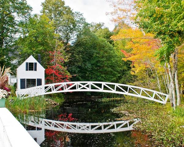 Autumn Poster featuring the photograph Somesville Bridge In Autumn by Lena Hatch