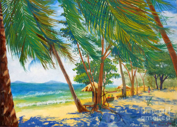 Seascape Poster featuring the mixed media somewhere in Thailand 1 by Boonchai Prasertvachirakool