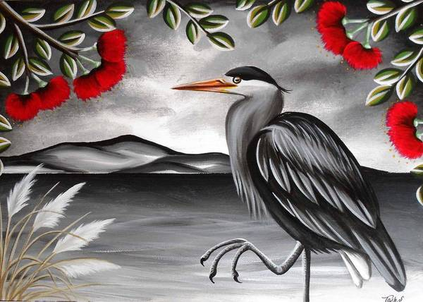 Heron Grey Black And White Storm Stormy Rain Bird Native Wildlife Nz New Zealand Kiwiana Pouhutukawa Toi Toi Sea Coast Poster featuring the painting Song Of The Heron by Natasha Shackleton