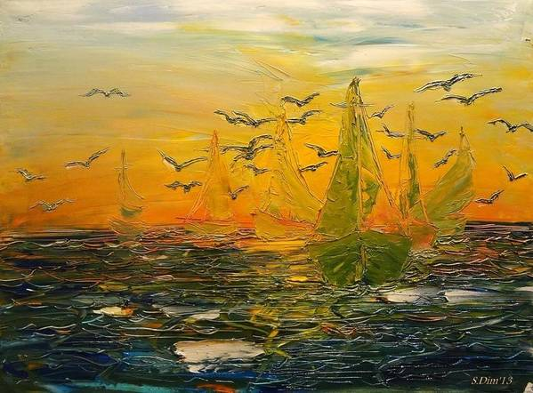 Sea Poster featuring the painting Song Of The Wind by Svetla Dimitrova