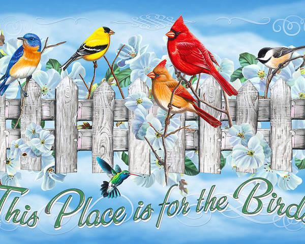 Cynthie Fisher Poster featuring the painting Songbirds Fence by JQ Licensing
