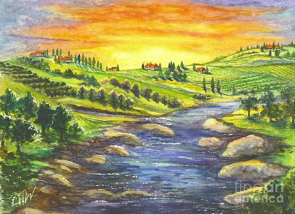 Villa Poster featuring the painting Sonoma Country by Carol Wisniewski