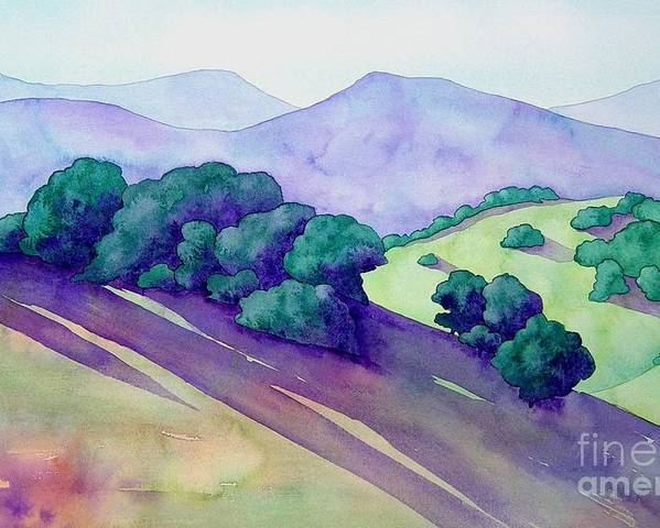 Watercolor Poster featuring the painting Sonoma Hills by Robert Hooper